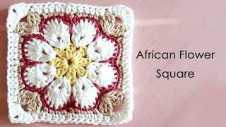 getlinkyoutube.com-アフリカンフラワーモチーフの編み方(四角形) * African Flower Square Crochet Motif *