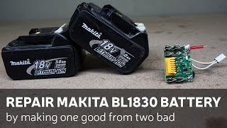 getlinkyoutube.com-Repair Makita BL1830 Battery By Making One Good From Two Bad