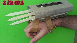 getlinkyoutube.com-how to make X-MEN WOLVERINE hand claws - paper & cardboard hand claws - game toy for kids story