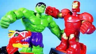 getlinkyoutube.com-Hulk vs IronMan 어벤져스 헐크vs아이언맨 과 파워레인저 다이노포스 공룡 배틀 장난감 Battle master & Dino Charge Dinosaur toys