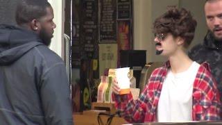 getlinkyoutube.com-Justin Bieber in disguise ( wig, glasses & moustache ) in Amsterdam, Netherlands - October 7, 2016