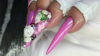 getlinkyoutube.com-How To Stiletto Shaped Mermaid Acrylic Nails//NOQ gels