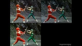 getlinkyoutube.com-Mighty Morhpin Red Ranger vs Green Ranger 3 Split Screen (MMPR, MMPR 2010 and Zyuranger version)
