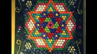 getlinkyoutube.com-Recycled DIY:  Practice your new RANGOLI art with bubble cover (very useful for rangoli lovers)