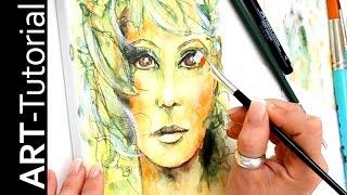 Portrait malen / zeichnen mit Aquarellstiften auf Leinwand zAcheR-fineT Tutorial - painting portrait