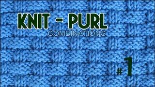 getlinkyoutube.com-Pie Crust Basketweave  |  Knit & Purl Stitch Combinations #1