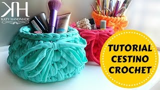 getlinkyoutube.com-Cestino in fettuccia | Crochet basket | Fondo tondo || Katy Handmade