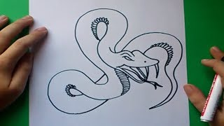 getlinkyoutube.com-Como dibujar una serpiente paso a paso 6   How to draw a snake 6