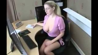 getlinkyoutube.com-Girl DownBlouse Receptionist HD 2