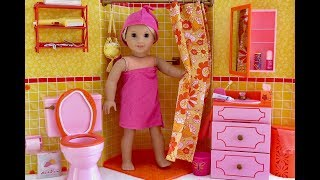 American Girl Doll Julie's Bathroom ~ Toilet, Sink, Shower and Accessories!