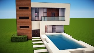 getlinkyoutube.com-Minecraft: Simple & Easy Modern House Tutorial / How to Build # 19 + Interior