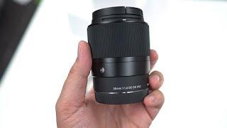 فتح صندوق واستعراض عدسة Sigma 30mm F1.4 E-Mount Lens