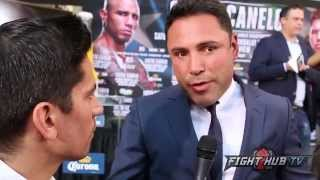 "getlinkyoutube.com-Oscar De La Hoya ""Canelo not afraid of Golovkin; Lemieux will KO GGG in 5 rounds!"""