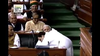 Rahul hugs PM Modi after ending speech, says I may be 'pappu' for BJP but I've no hatred towards you