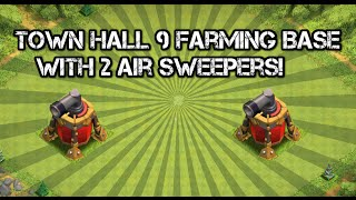 getlinkyoutube.com-Clash Of Clans - Town Hall 9 (TH9) Farming Base With 2 Air Sweepers! New July Update 2015