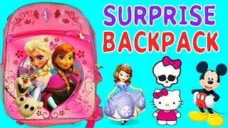 getlinkyoutube.com-SURPRISE BACKPACK Barbie Monster High Hello Kitty Mickey Mouse Clubhouse Frozen MLP Sofia The First