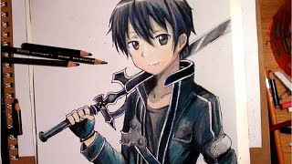 getlinkyoutube.com-Drawing Kirito from Sword Art Online - Timelapse