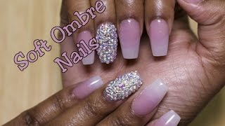 getlinkyoutube.com-Soft Pink and White Ombre Nails with Bling