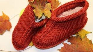 getlinkyoutube.com-Knitted slippers for beginners_ Вязаные тапочки