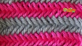 getlinkyoutube.com-Cómo Tejer PUNTO ESPIGA EN COLORES-Herringbone Stitch (324)