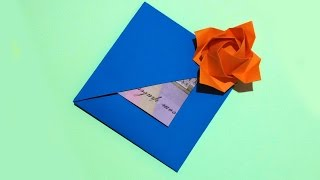 Easy gift Card with flower and secret message inside. Origami Card. Ideas for gift