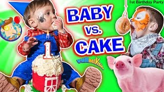 getlinkyoutube.com-BABY vs CAKE! Shawn's 1st Birthday Party! Family Games & Activities w/ FUNnel Vision + Presents Haul