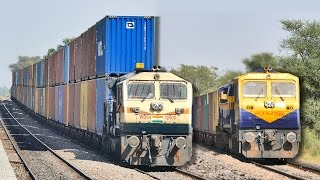 getlinkyoutube.com-Single vs DOUBLE Stack CONTAINER Train : Indian Railways