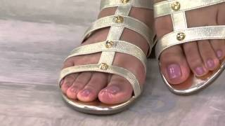 getlinkyoutube.com-Marc Fisher Leather and Stretch Studded Gladiator Sandals - Lexxi on QVC