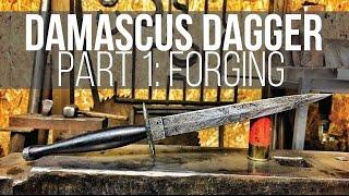 getlinkyoutube.com-MAKING A DAMASCUS DAGGER #1! Fairbairn Sykes Style!