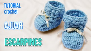 getlinkyoutube.com-DIY Zapatitos Escarpines Punto Puff | Crochet AJUAR varón