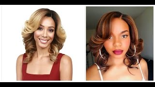Brown & Blonde Highlights Curly Bob: Bobbi Boss MLF190 TERRA Lace Front Wig