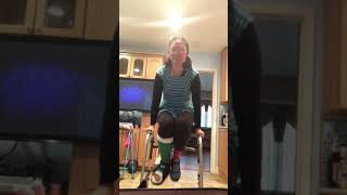 Gimpy Foot Gymnastics with a Walker and leg cast