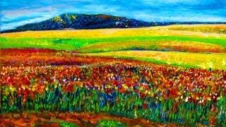 getlinkyoutube.com-How I paint Sunrise in Wild Field Impressionist style Acrylic on Board by Rami Benatar