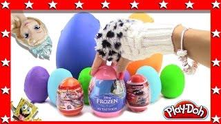 getlinkyoutube.com-Disney collector surprise eggs play doh minions spongebob cars planes frozen princess elsa