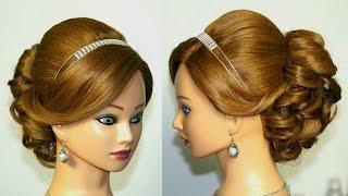 getlinkyoutube.com-Wedding prom hairstyle for medium long hair. Updo tutorial