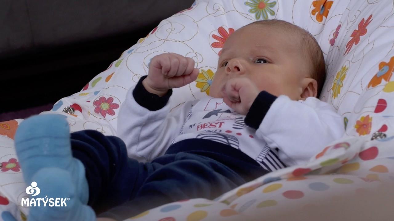 Pelíšek pro miminka, kojenecký relaxační polštář STARS 100% bavlna
