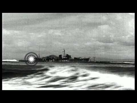 Japanese battleships engage in live fire exercises at sea in Japan. HD Stock Footage