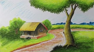 getlinkyoutube.com-How to Draw a Village Landscape with Oil Pastels | Episode-6