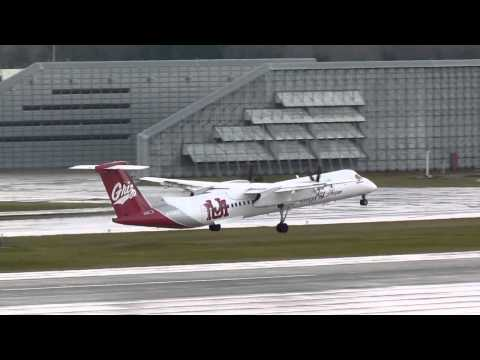Alaska Airlines Bombardier Q400 With The University Of Montana Paint Job Takes Off From PDX On Runwa