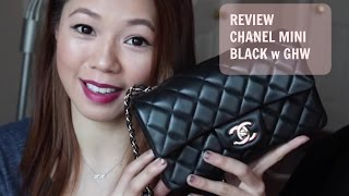 getlinkyoutube.com-香奈儿迷你黑色 Review: Chanel Rectangle Mini Black Light Gold Hardware | crystalforest