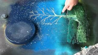 Spray Paint Art: Tree and Sun: ASMR?