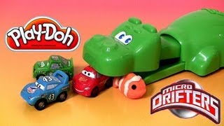 getlinkyoutube.com-Play Doh Hungry Hungry Hippo Eats Cars Micro Drifters Planes playdough Disney Pixar Hippos toy