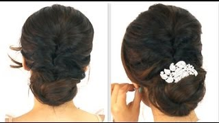 getlinkyoutube.com-★ 5MIN EASIEST PARTY UPDO | EVERYDAY BRAIDED BUN PROM HAIRSTYLES FOR MEDIUM LONG HAIR TUTORIAL