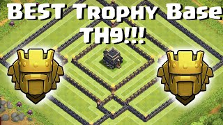 getlinkyoutube.com-Clash Of Clans - Town Hall 9 (TH9) BEST Trophy Base / Anti 3 Star 2 Air Sweepers/New