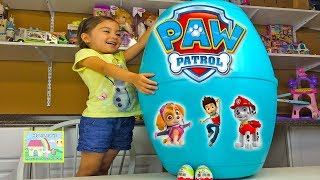 getlinkyoutube.com-HUGE PAW PATROL SURPRISE EGG Kinder Surprise Eggs Surprise Toys Opening - Action Rescue Pups LookOut