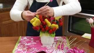 getlinkyoutube.com-How to Make an Edible Strawberry & Pineapple Fruit Arrangement | RadaCutlery.com