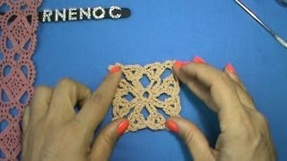 getlinkyoutube.com-MOTIVO CUADRO CON CADENAS Y PUNTO ABANICO GANCHILLO CROCHET, EASY DIY