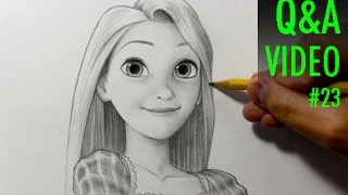 getlinkyoutube.com-Drawing Practice: Rapunzel from Tangled [Q&A Video #23]