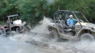 getlinkyoutube.com-GIANT POLARIS RZR BROKE AND NASTY STUCK - PULLED OUT BY CAN AM COMMANDER 1000!