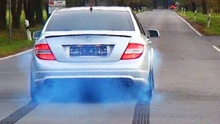 getlinkyoutube.com-Mercedes C63 AMG Acceleration Sound Tire Smoke Full Throttle V8 X-Pipe Exhaust Beschleunigung W204
